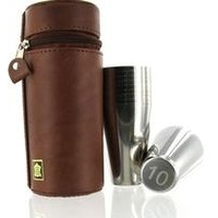 10 pcs x 80ml stainless steel cups in leather case