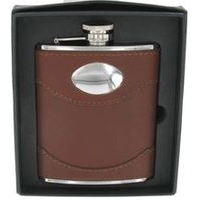 Brown Leather Hip Flask with name plate 6oz