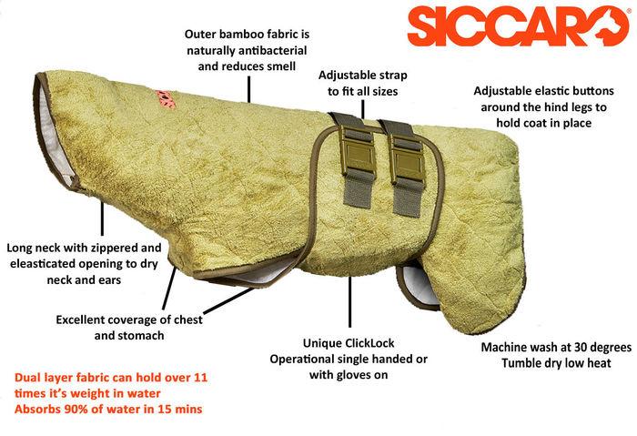 SICCARO Supreme Pro Dog Drying Robe - Bamboo image #2